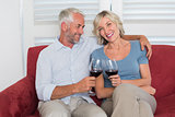 Happy relaxed mature couple toasting wine glasses