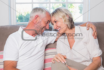 Cheerful mature couple sitting on sofa in living room