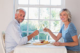 Side view portrait of a mature couple toasting drinks over food
