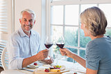 Portrait of a mature couple toasting wine glasses over food by the window at home