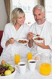 Portrait of a mature couple having breakfast