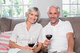 Portrait of a relaxed mature couple with wine glasses