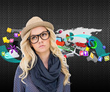 Composite image of serious trendy blonde with classy glasses posing