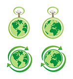 Eco icons globe, recycling icon and tree vector isolated on white background