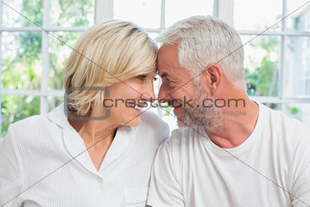 Close-up of a relaxed mature couple