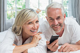 Portrait of a cheerful mature couple reading text message