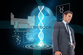 Composite image of stern businessman with hand on hip