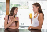 Female friends drinking orange juice at café