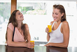 Happy female friends drinking orange juice at café