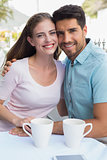 Portrait of a romantic couple at coffee shop