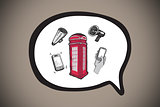 Composite image of phone box in speech bubble doodle