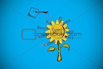 Composite image of success sunflower doodle