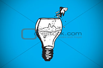 Composite image of fish jumping out of light bulb bowl
