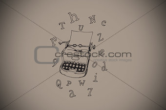 Composite image of typewriter and letters doodle