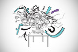 Composite image of computer brainstorm doodle