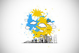 Composite image of cityscape graphic on paint splashes