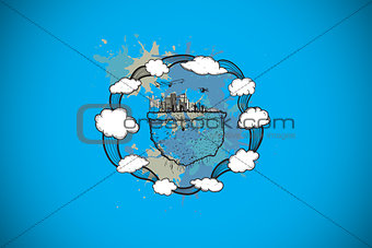 Composite image of tourism concept on paint splashes