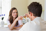 Couple toasting wine glasses at home