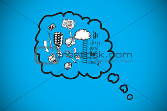 Composite image of thought bubbles with doodles