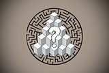Composite image of question mark over puzzle doodle