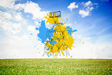 Composite image of teamwork concept on paint splashes