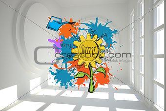 Composite image of success concept on paint splashes