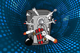 Composite image of explosives attacking safe doodle