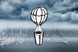 Composite image of hot air balloon doodle