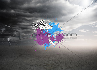 Composite image of storm clouds on paint splashes