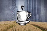 Composite image of cup of coffee doodle with steam