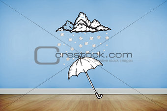 Composite image of umbrella doodle