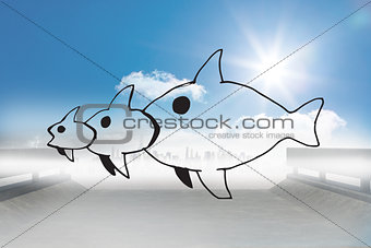 Composite image of fish eating a fish eating a fish