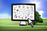 Composite image of cloud computing doodles on computer screen