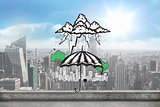 Composite image of umbrella sheltering city doodle