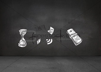 Composite image of time and money doodle
