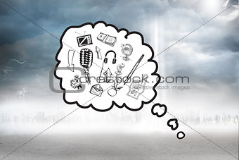 Composite image of thought bubble with doodles