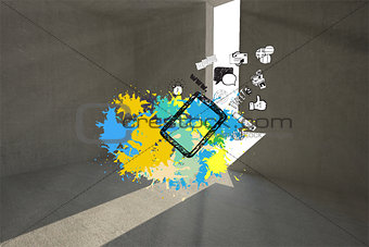 Composite image of tablet applications on paint splashes