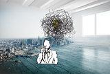 Composite image of confused businessman doodle