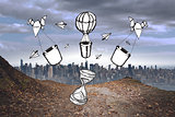 Composite image of time and hot air balloons doodle