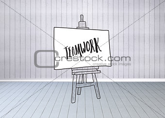 Composite image of teamwork text on easel