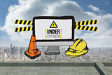 Composite image of construction doodles with computer screen