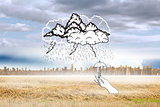 Composite image of storm doodle with hand holding tiny umbrella