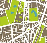 Abstract vector city map with white streets, dark brown buildings, green park and blue ponds