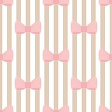 Seamless vector pattern with pastel pink bows on a light brown and white stripes background.