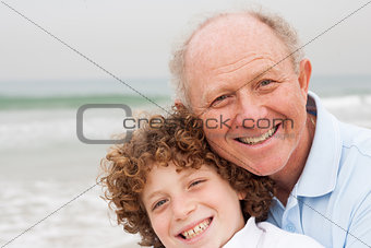 Little boy with his grand father