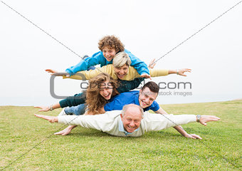 Extended family enjoying weekend