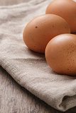 speckled chicken eggs or old table