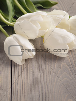 white tulips on old wood table