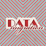 Data Migration Concept on Striped Background.