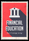 Financial Education on Red in Flat Design.
